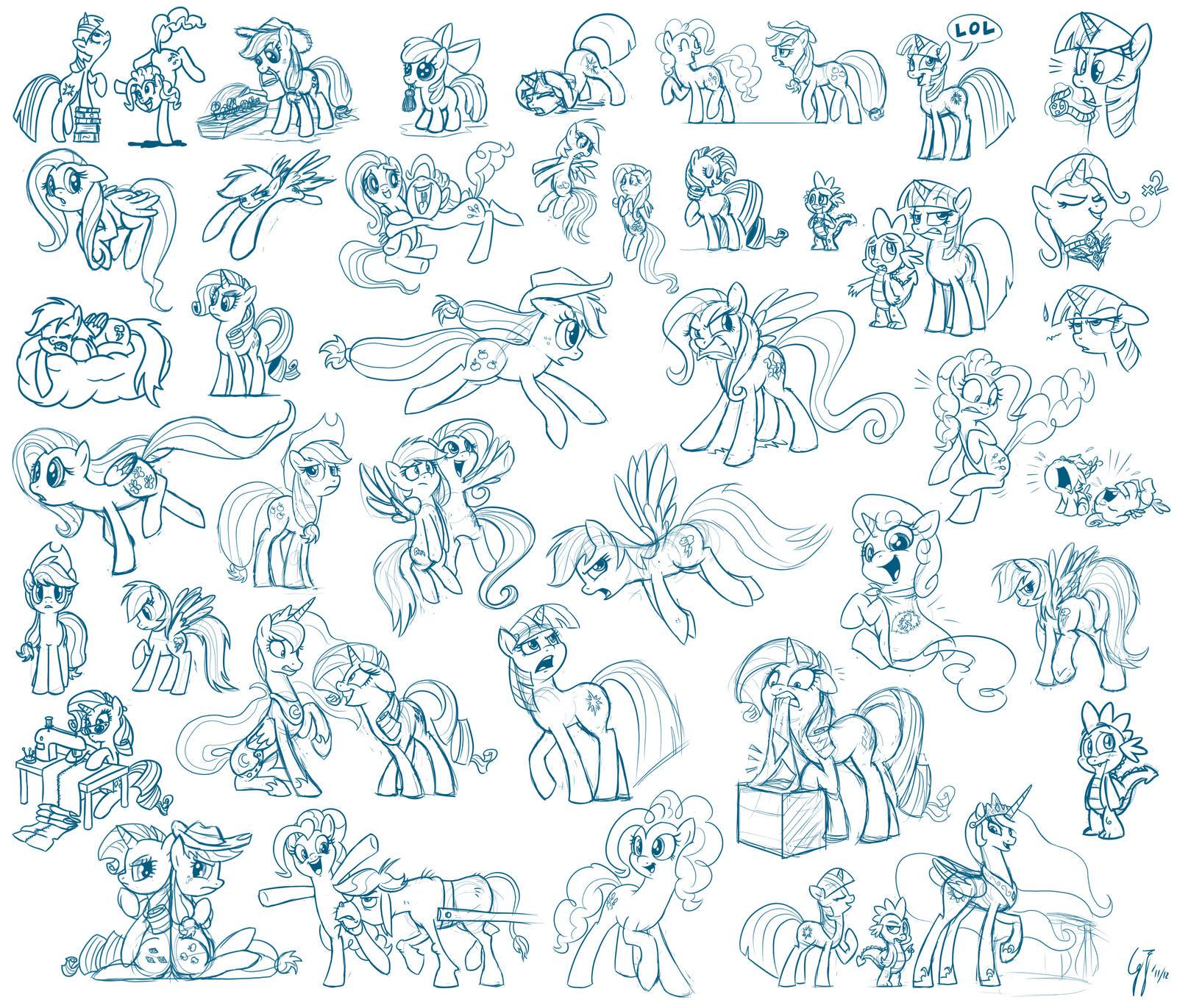 Just Drawing Ponies by GlancoJusticar
