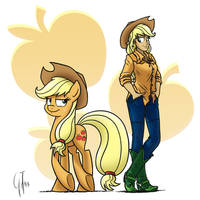 Human Ponidox Applejack by GlancoJusticar