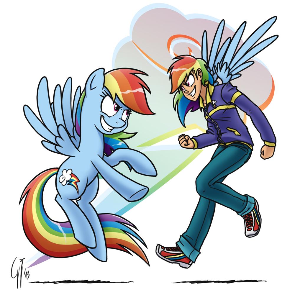 Human Ponidox Rainbow Dash by GlancoJusticar