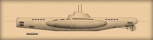 Submarine old like looking drawing by Niedziak