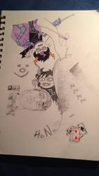 Homestuck sketches and a friend