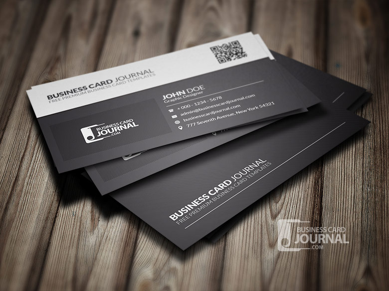 Black And White QR Code Business Card Template By Mengloong On - Business card with qr code template