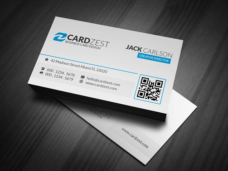 Clean simple blue accent business card template by for Simple business card template