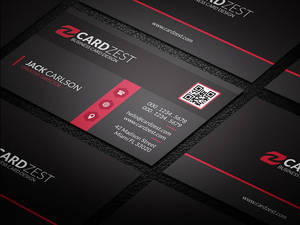 Stylish Black Red Corporate Business Card Template