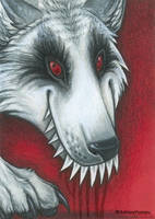 Aceo- Blood Wolf by vashley