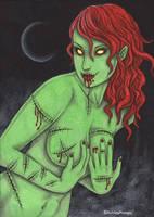 Cherry Red Zombie Girl by vashley