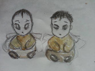 Queen and King Bees, as babies by greydreamwanderer
