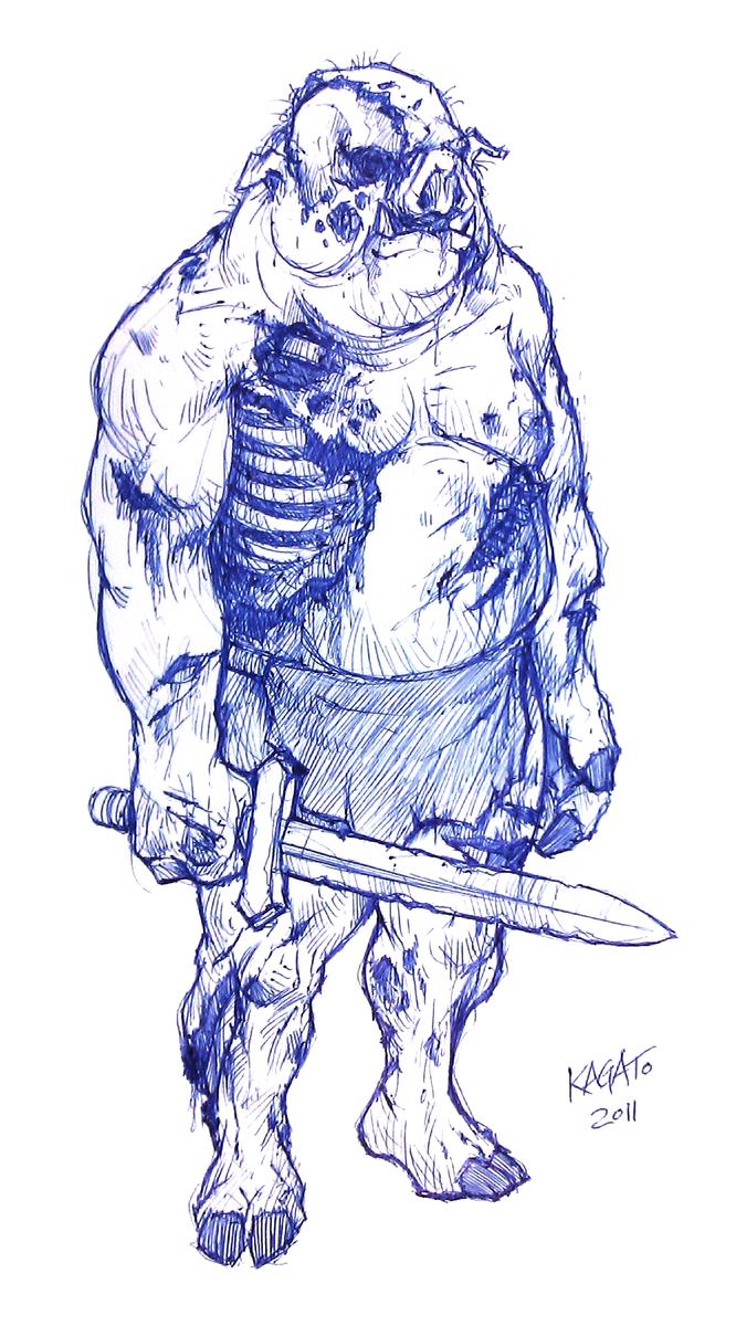 Zombie Pigman Sketch by StudioKagato