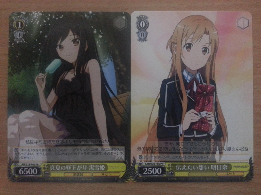 kuroyukihime and asuna weiss schwarz promo cards by. Black Bedroom Furniture Sets. Home Design Ideas