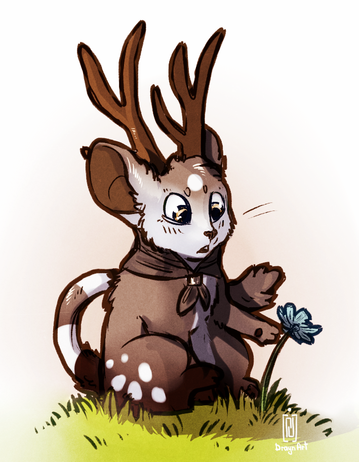 sitting on grass by Drayni