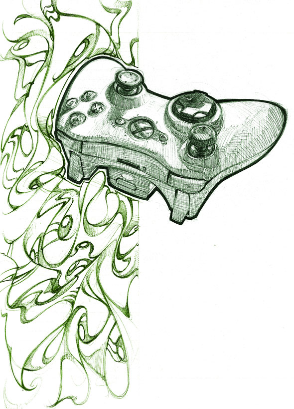 Xbox Live Drawing : Xbox controller by biz on deviantart