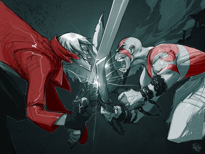 Dante vs. Kratos by biz20