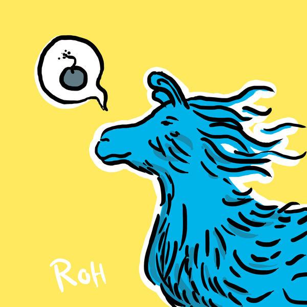 Blue llama with windy hair by orangehamster