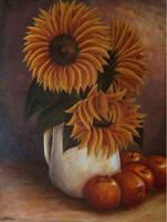 DAY - Sunflower and Apple by kuronightcliff2