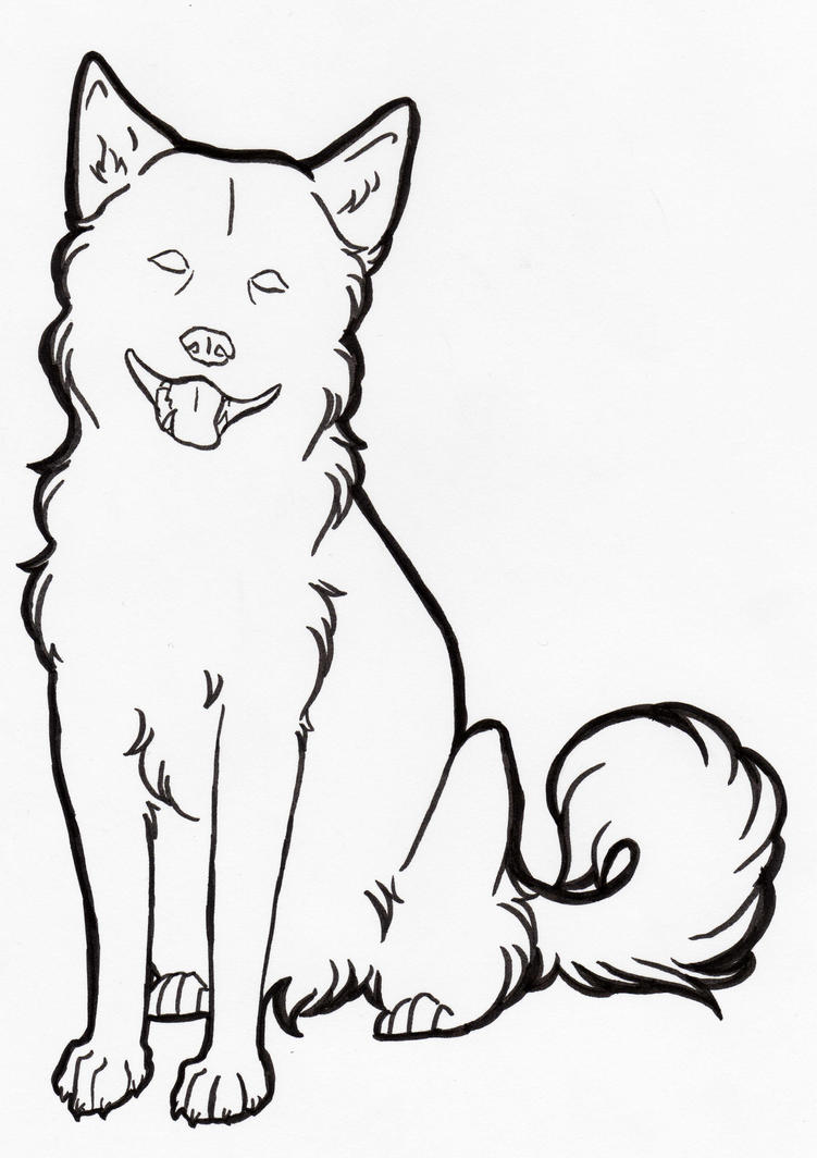 Line Drawing Of Dog : Free dog line art by nanaphiroth on deviantart