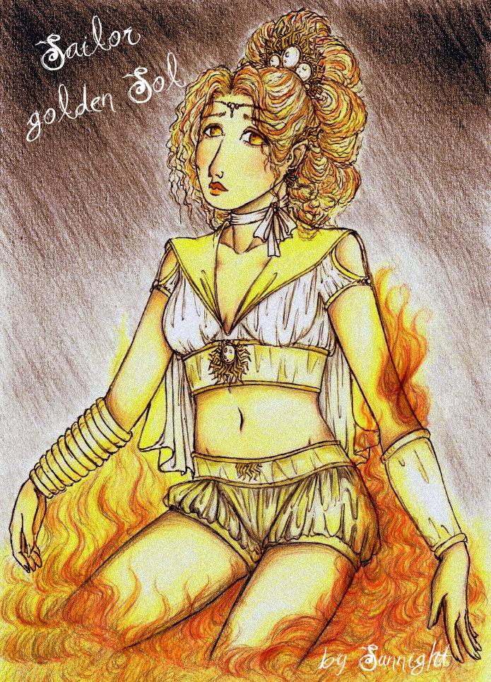 Sailor Golden Sol in Flammen by sunnight1