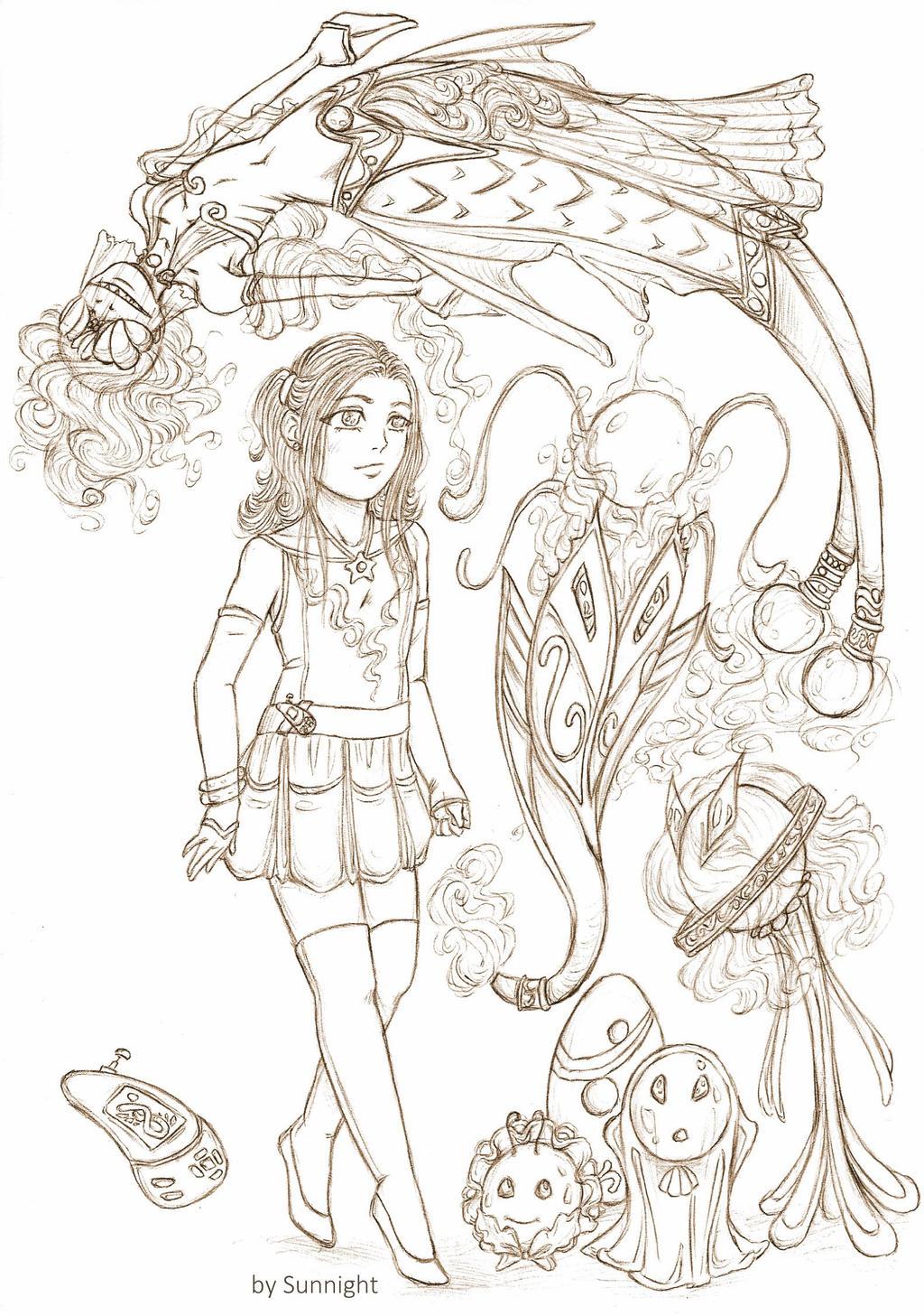 Sarah Snow with their Digimon Maraquelmon by sunnight1