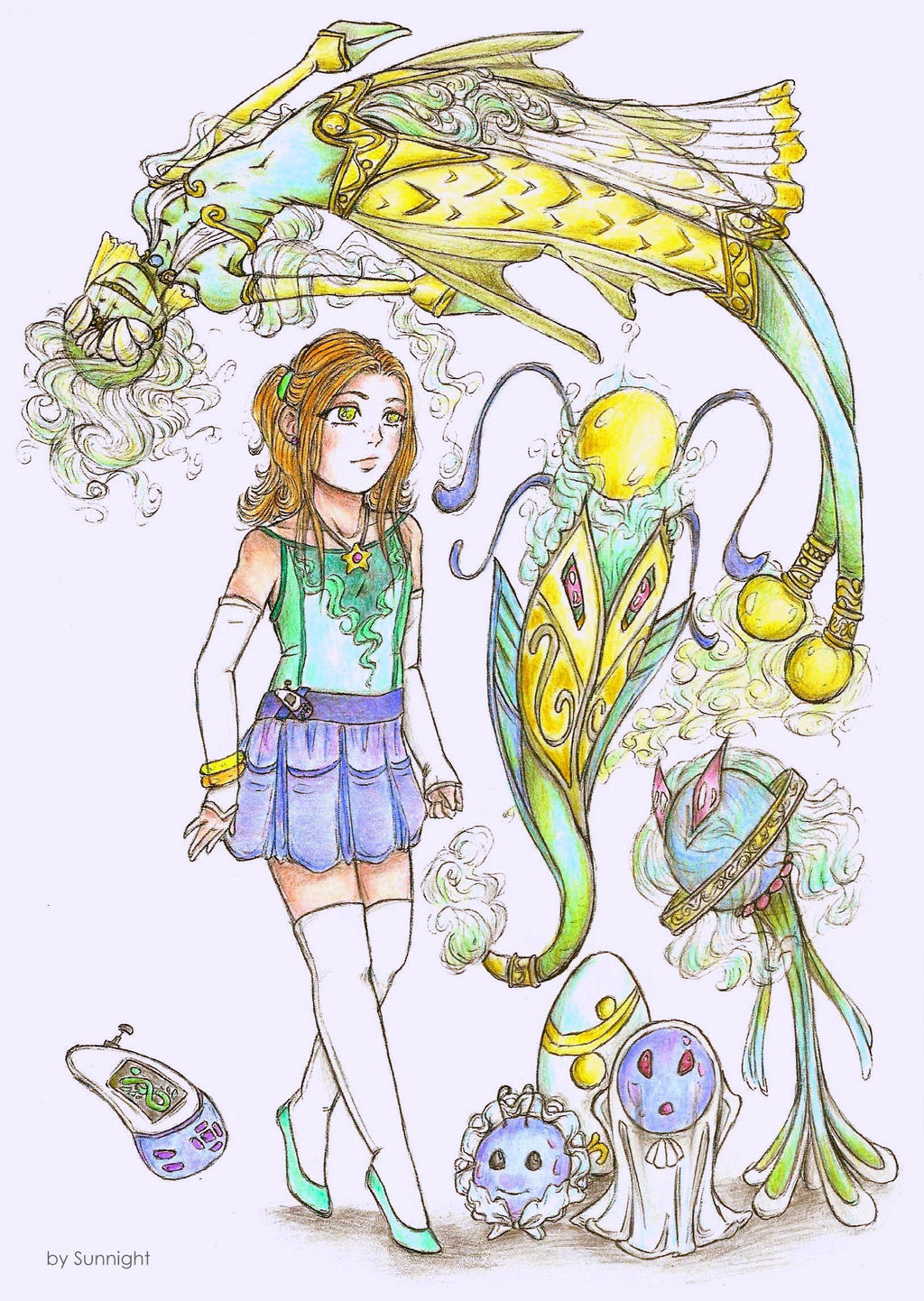 Sarah Snow with their Digimon Maraquelmon (colo) by sunnight1