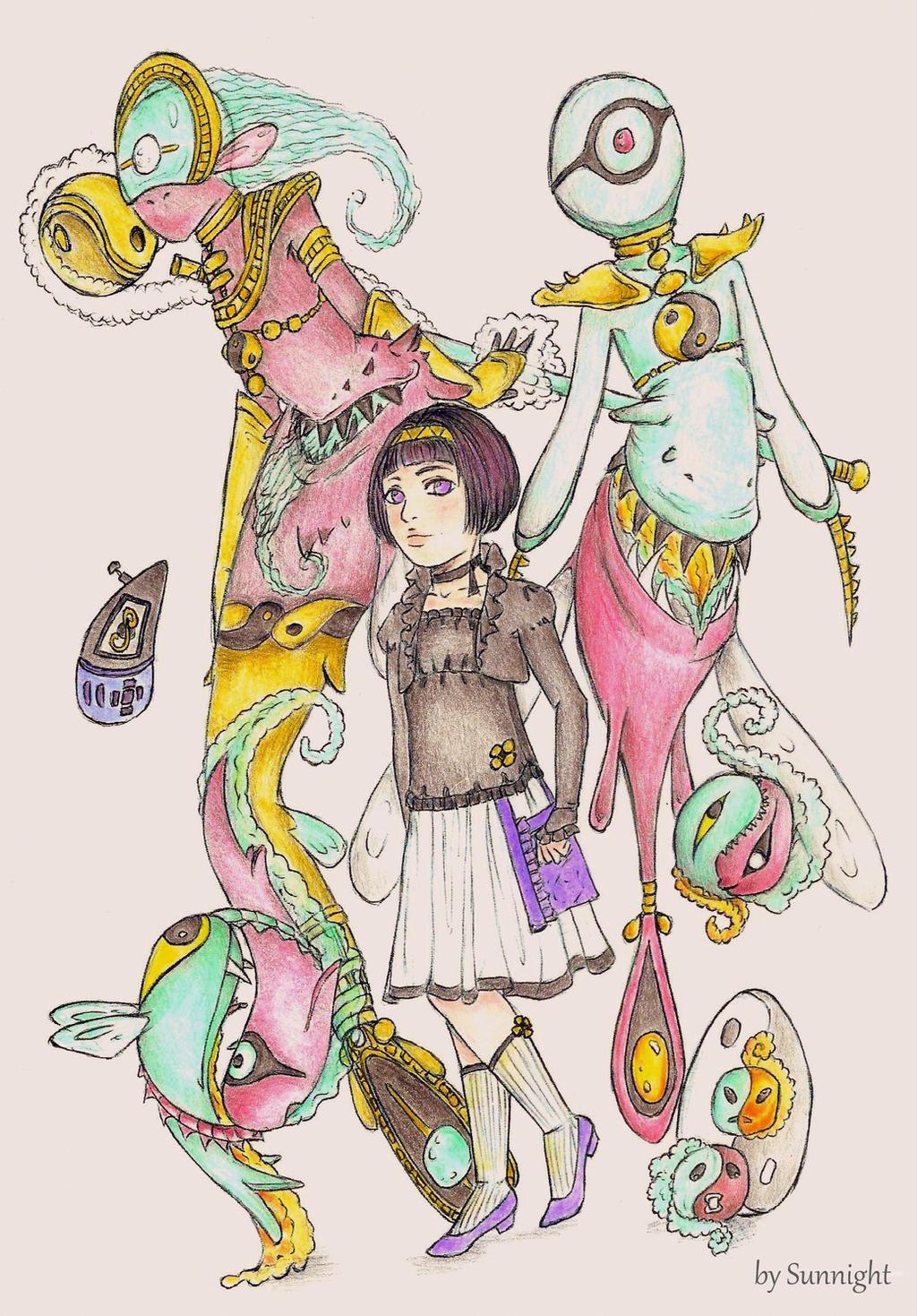 Chantal la Fee with their Digimon Harmoniamon colo by sunnight1