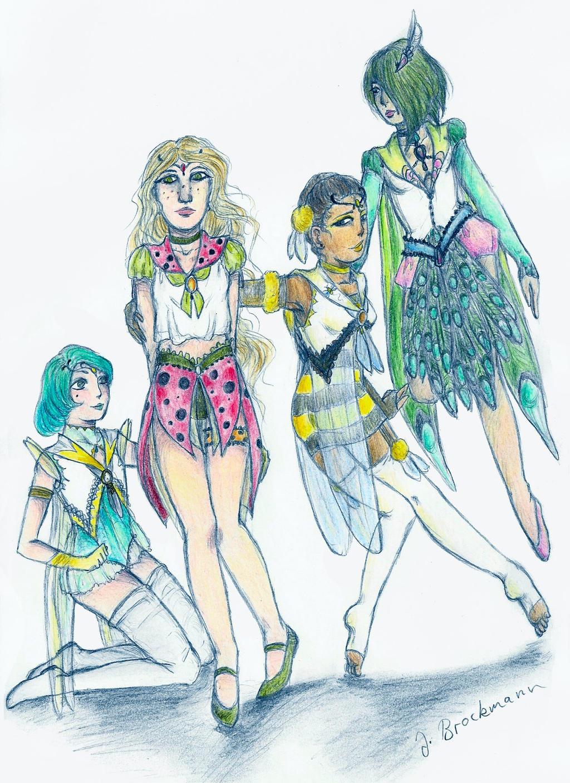Sailor Dragonfly, Ladybird, Bree und Peacock by sunnight1