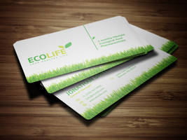 Ecology Business Card with Grass by nazdrag