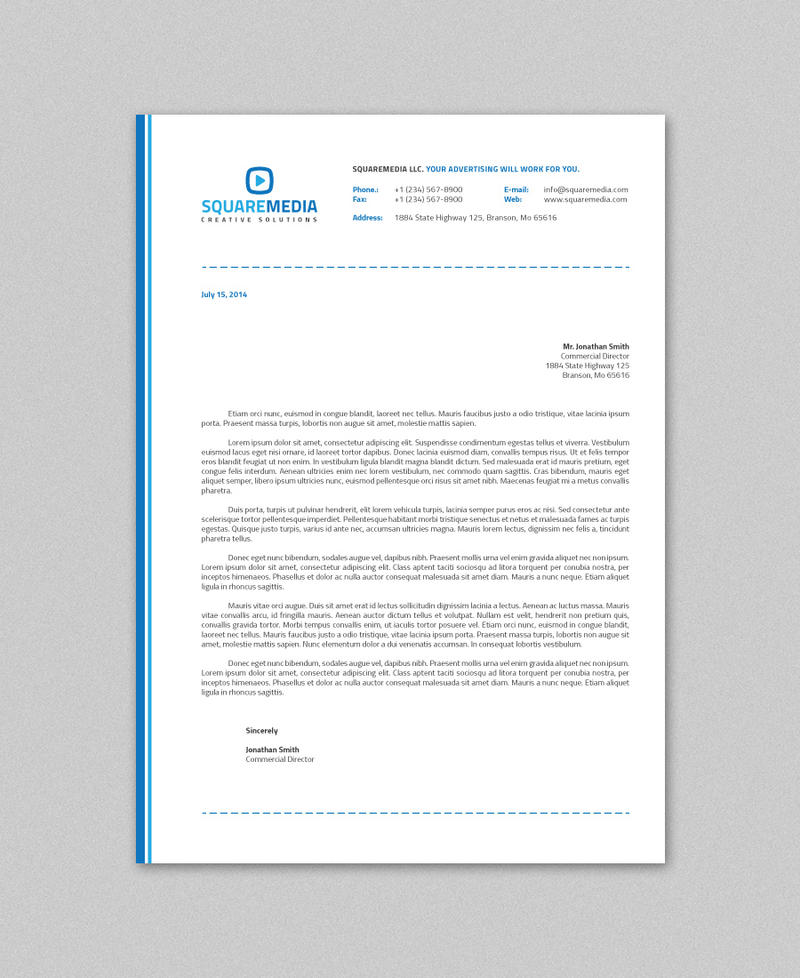 Clean Corporate Letterhead Template: Corporate Letterhead Vol.14 With MS Word DOC/DOCX By