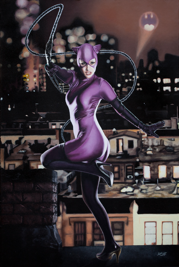 Catwoman Oil Painting by asifiqbalart