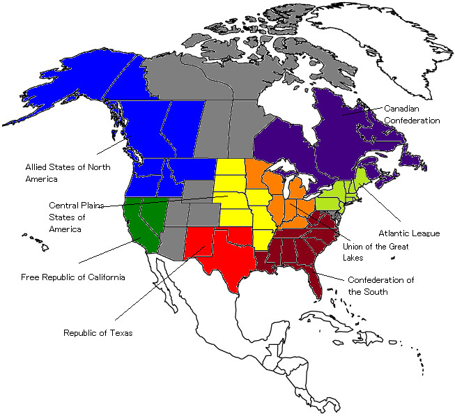 Post-World War III North America map by Shoguneagle on DeviantArt