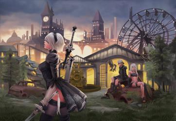 Nier Automata - Amusement Park by Chacobo