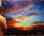 Sunset on the desert Painting by Leon Devenice