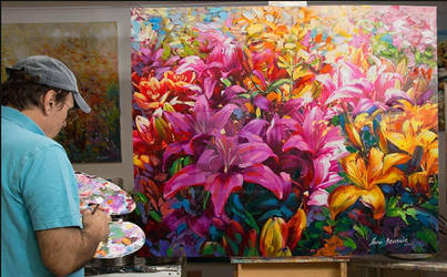 Lilies Oil Painting on canvas by Leon Devenice