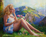 Mountain flower oil painting by Leon Devenice