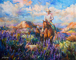 Morning Ride Oil Painting by Leon Devenice by leondevenice