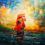 Ship art oil painting on canvas by Leon Devenice