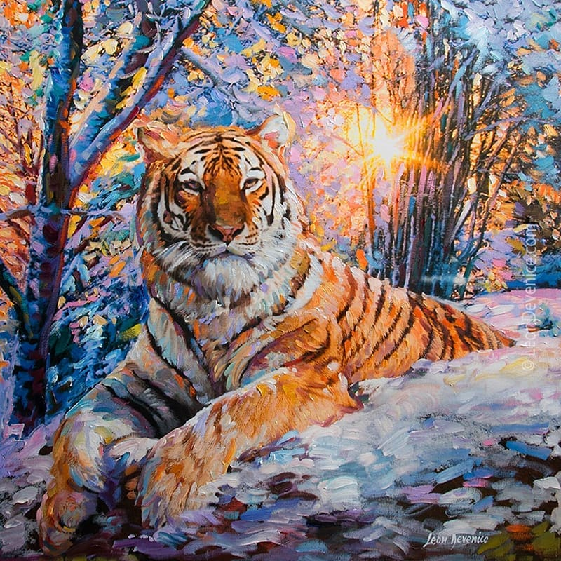 Tiger art, tiger painting , Leon Devenice by leondevenice