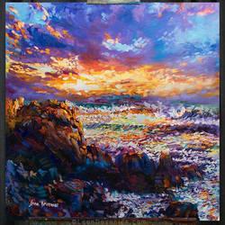 Sunset Painting,Sea painting, Leon Devenice by leondevenice