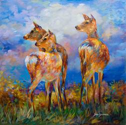 Deer painting, deer art , Leon Devenice