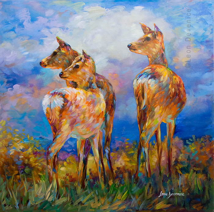 Deer painting, deer art , Leon Devenice by leondevenice