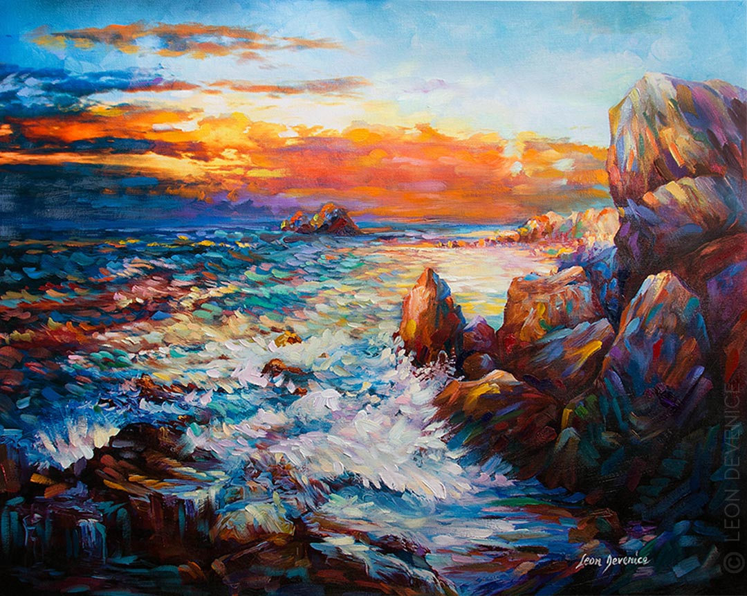 Leon Devenice , Sunset painting, sea painting ,