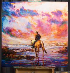 Leon Devenice , horse rider painting