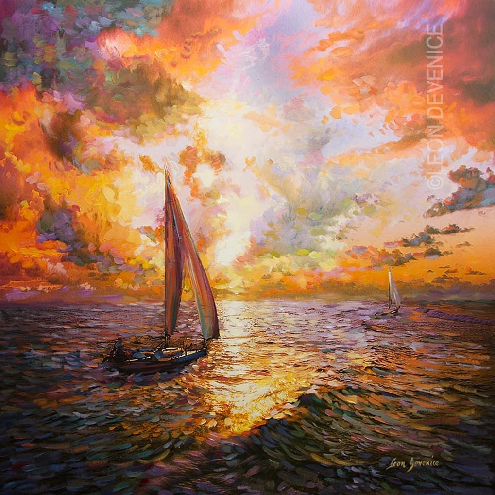 Leon Devenice , sunset painting , sunset art