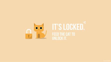 cat guarding a padlock lockscreen by marurou