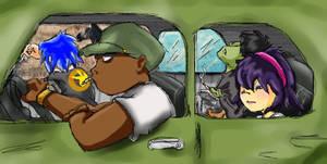Gorillaz: In a Car by madamenanas