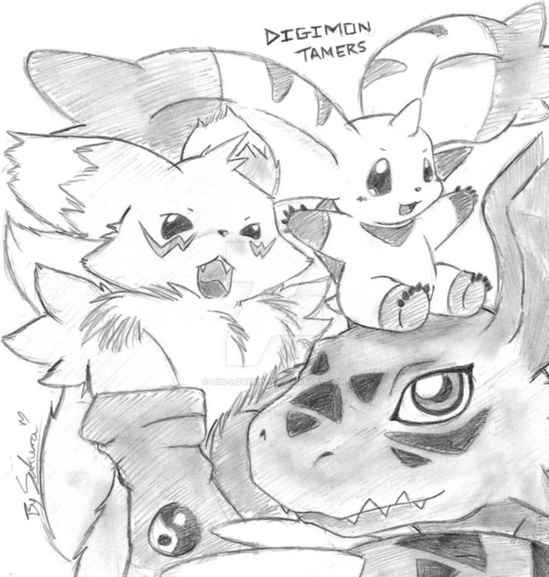 Guilmon, Terriormon, and Renamon by Digi-Lover517