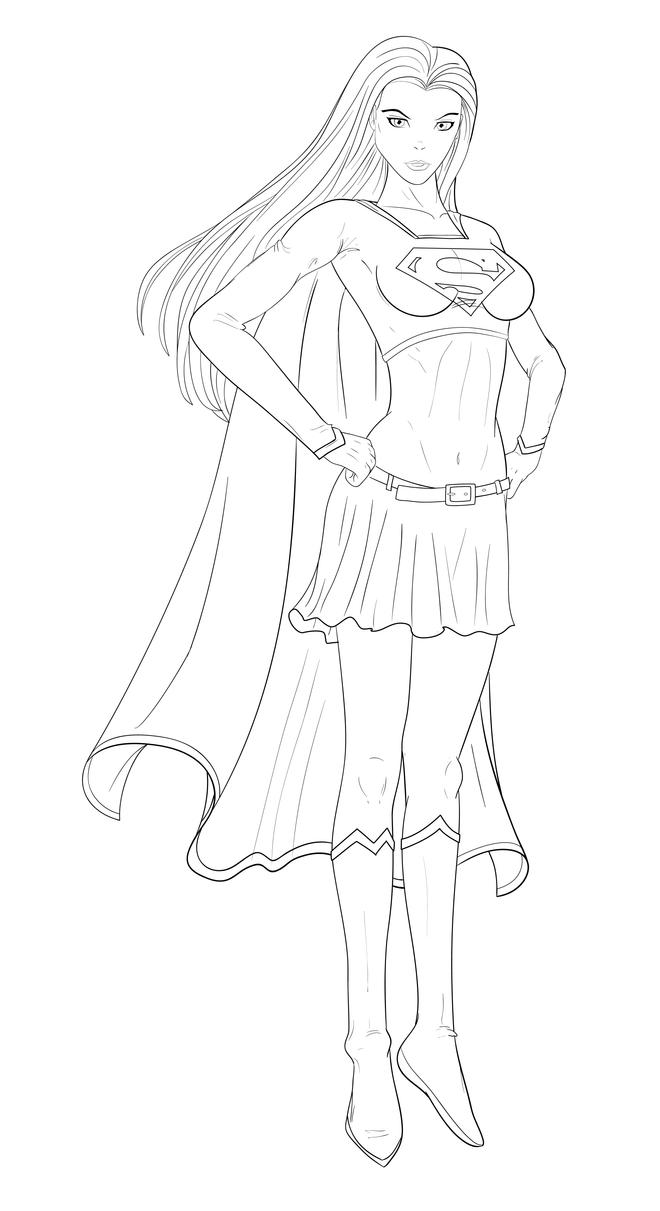 Supergirl vector by gbrsou on deviantart for Supergirl coloring page
