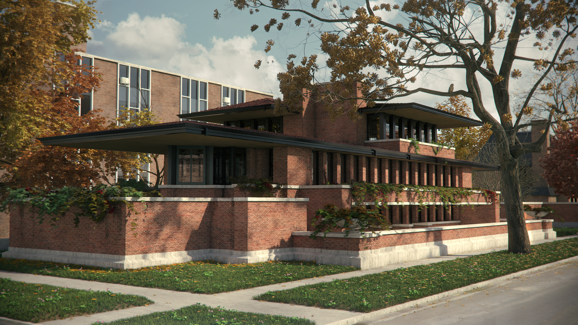 The robie house by frank lloyd wright 1920x1080 for Frank lloyd wright prairie style house plans