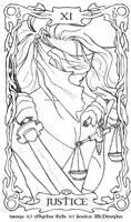 PE Tarot - Justice Lineart -