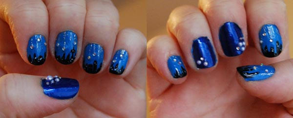 Night Time City Scape Nail Art