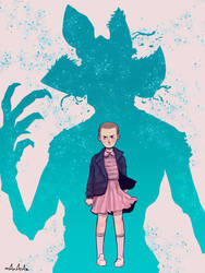Eleven and the Demogorgon - STRANGER THINGS FANART by Mahatab