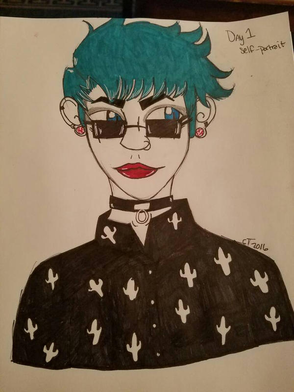 Drawing Challenge Day 1- Self Portrait  by mysticalmind1000